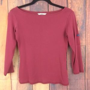 Guess Womens Pullover Top Blouse Shirt Maroon